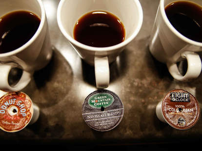 Mugs of coffee with K-cups