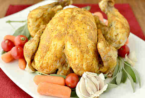 Lower-fat roast chicken