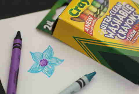Crayola crayons and flower doodle