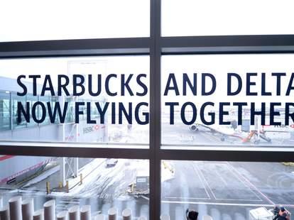 Starbucks and Delta window