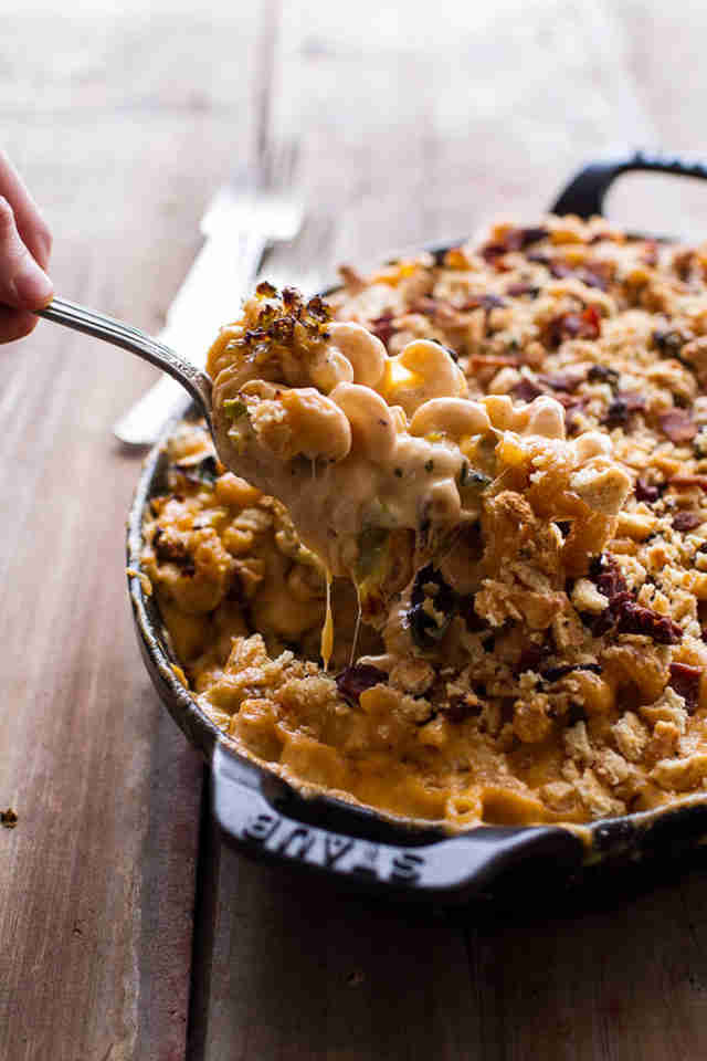 Butternut squash and brussels sprouts mac and cheese
