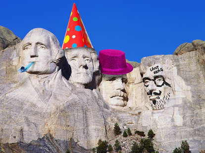 Mount Rushmore with party hats