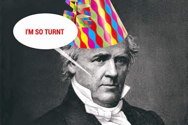 James Buchanan in party hat