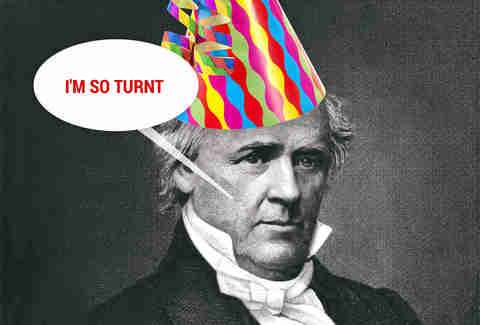 James Buchanan in party hat