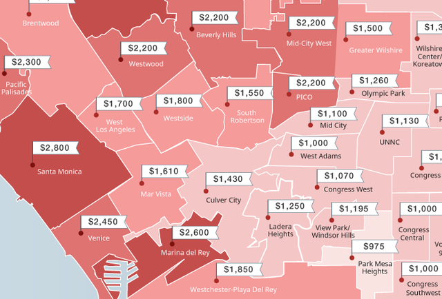 This Map Shows The Stupidly High Rents Across La Neighborhoods