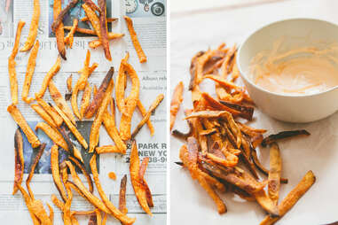Sweet potato fries with Sriracha creme fraiche