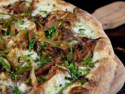 carmelized onion argula pizza at la bocca wine bar and pizzeria tempe arizona