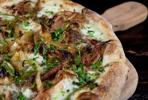 carmelized onion argula pizza at la bocca wine bar and pizzeria tempe arizona
