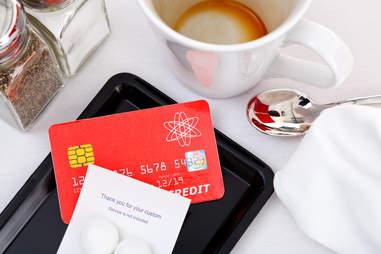 credit card at a restaurant