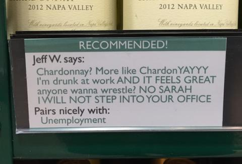 Wine recommendation drunk at work