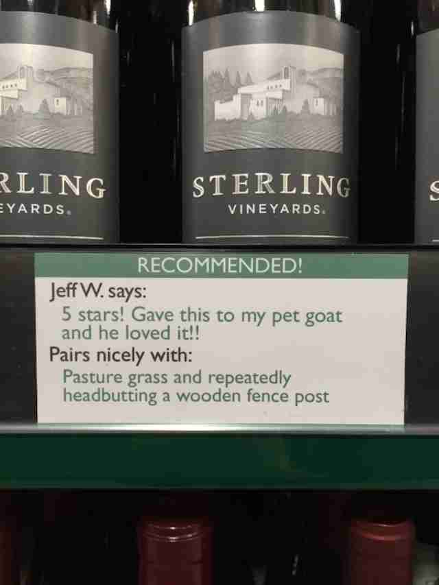 Wine recommendation pet goat