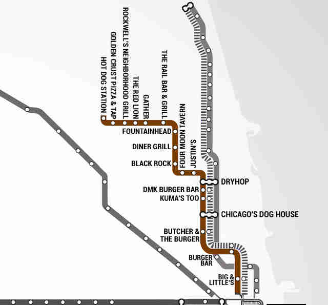 The Best Burger In Chicago At Every L Stop Thrillist - Chicago brown line map