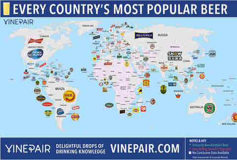 Map of most popular beers by country