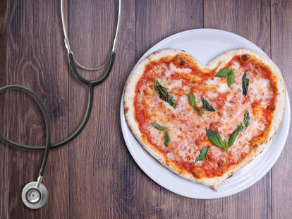 Heart pizza with stethoscope