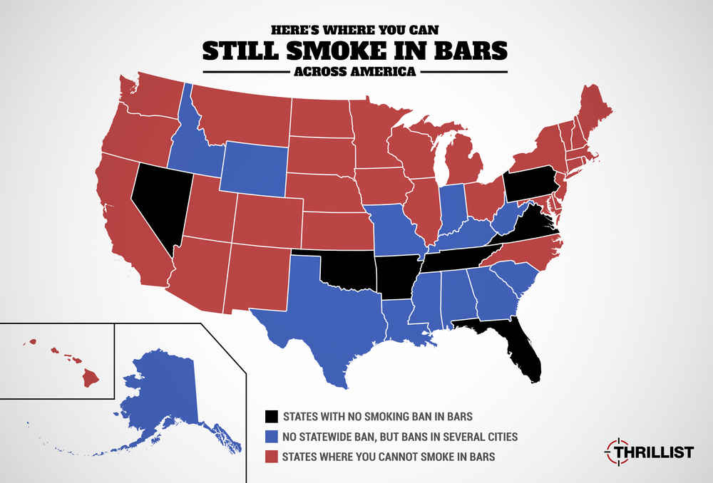Where Can You Smoke In Bars Miami Las Vegas Philadelphia Top - Map of bars in us