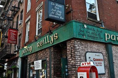 exterior of Paddy O'Reillys NYC best Irish Bars in New York City