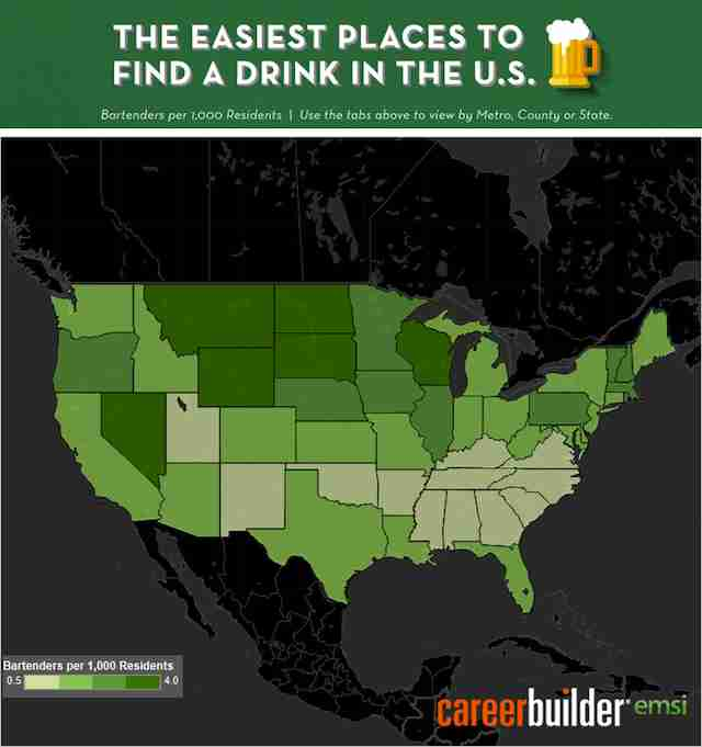 Bartenders by state