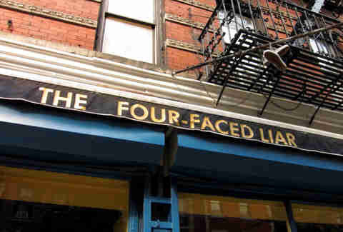 exterior sign of four faced liar best irish bar new york city nyc