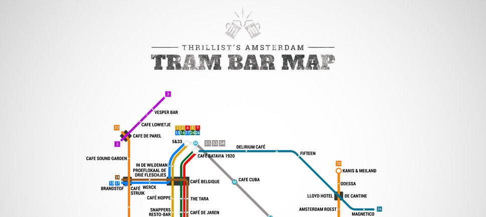 Amsterdam's First Official Tram Bar Map