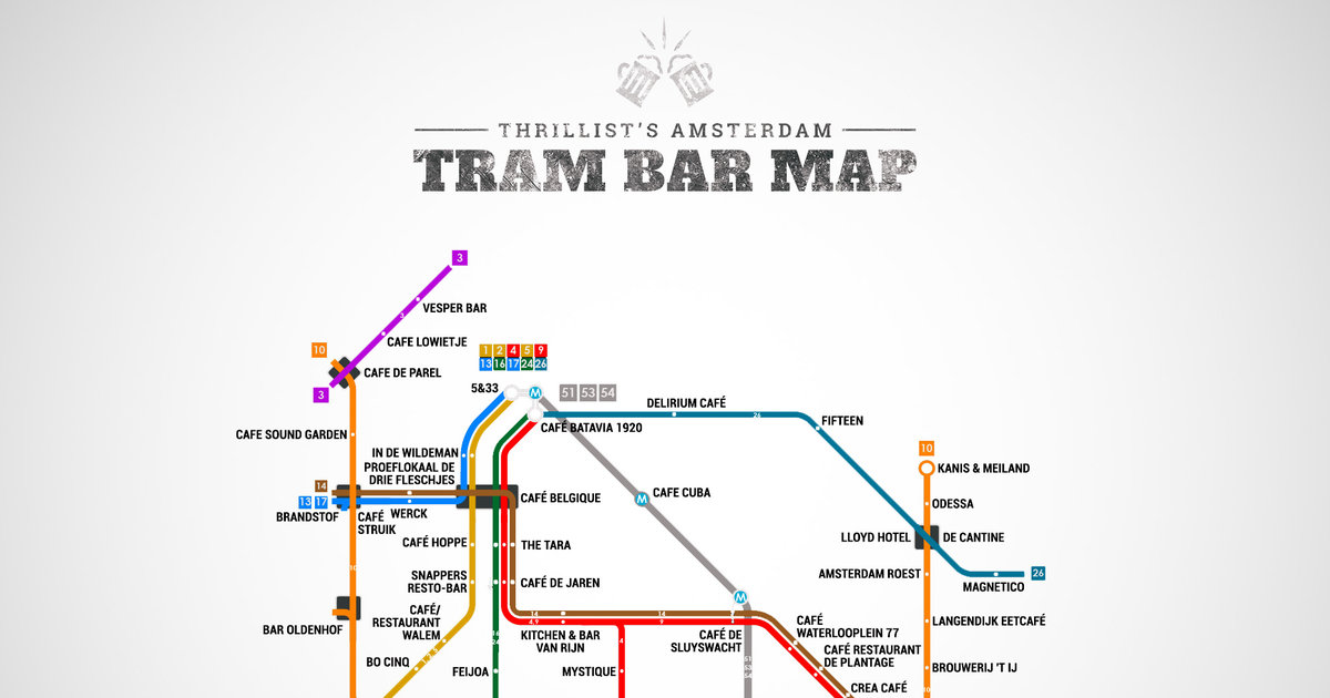 Amsterdam S First Official Tram Bar Map Thrillist