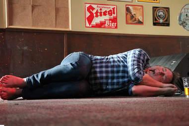 sleeping on dancefloor