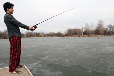 fishing in pajamas