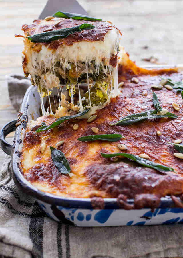 Caramelized butternut squash and kale florentine lasagna
