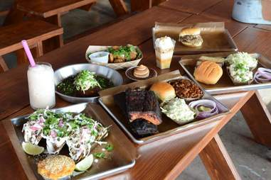 Barbecue spread at Feast BBQ
