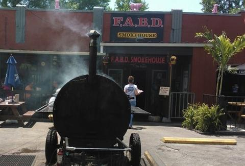 meat smoker at Frankford Avenue Beer Depot BBQ Louisville