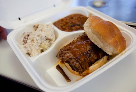 BBQ platter to go from River Road BBQ