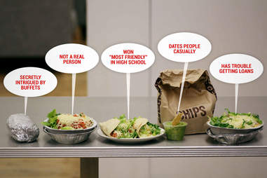 Burrito bowl, burrito, tacos, and chips from Chipotle