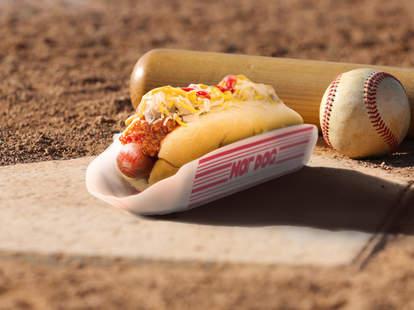 hot dog on baseball field