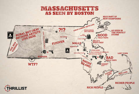 Greater Boston Map Towns.How Boston Sees The Rest Of Massachusetts Map Thrillist