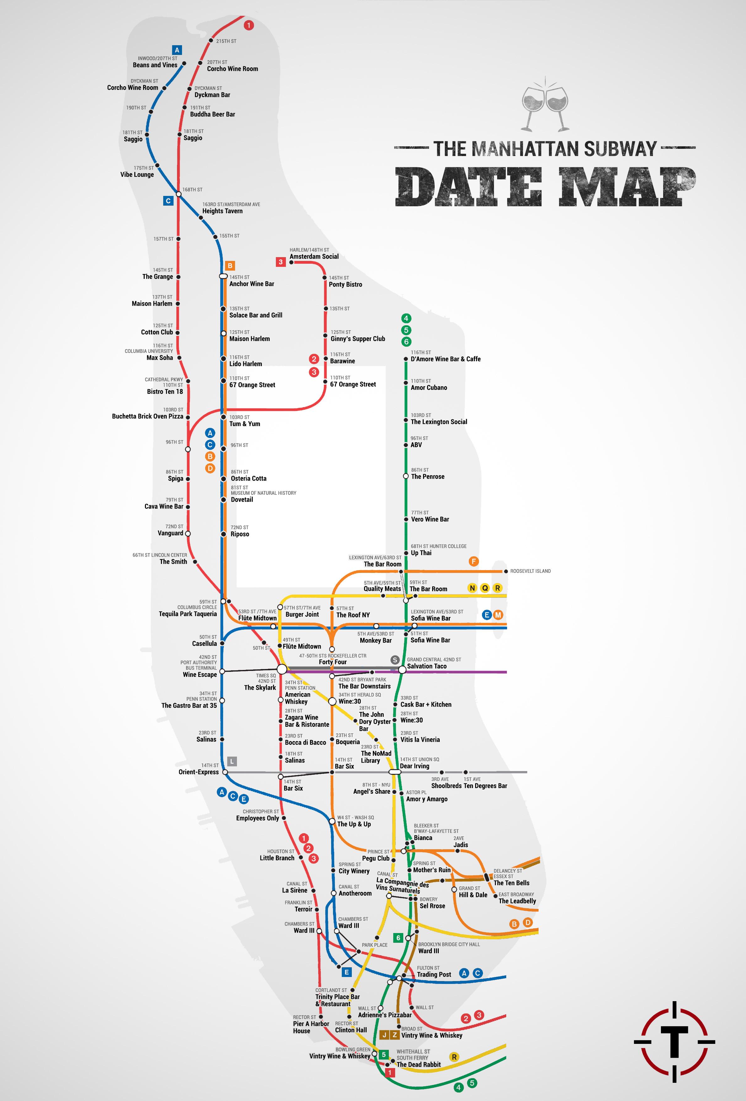 Nyc Subway Map A C E.Manhattan Subway Date Map Date Ideas Bars Restaurants Thrillist