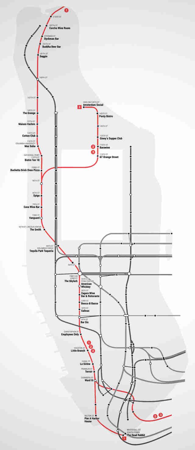Manhattan Subway Date Map Date Ideas Bars Restaurants Thrillist - Map of every subway restaurant in us