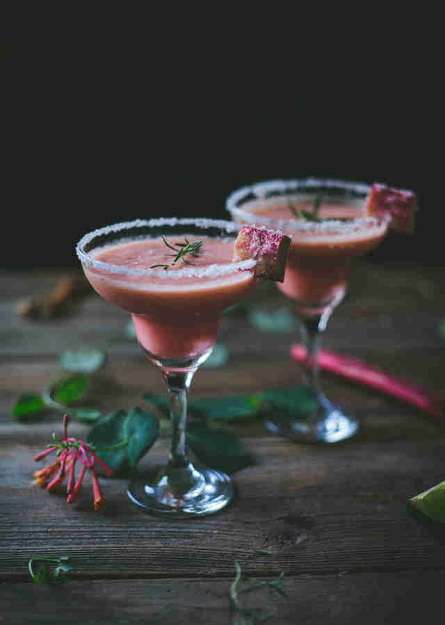 Spicy rosemary rhubarb margarita