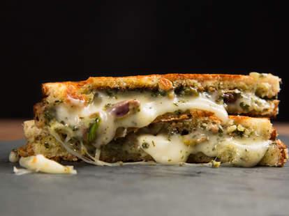 Taleggio, pesto, and pistachio grilled cheese — Thrillist Recipes