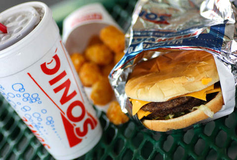 Sonic cheeseburger and drink