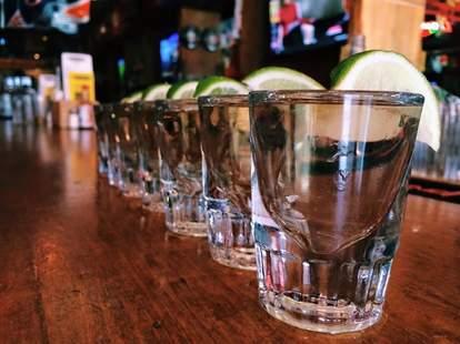 Tequila shots at sports taqueria