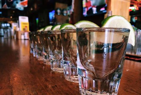 Tequila shots at sports taqueria
