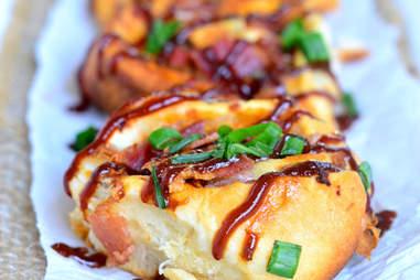 Cheesy BBQ chicken bacon pinwheels