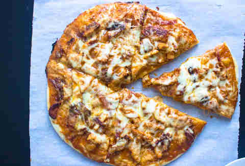 BBQ chicken and ranch pizza