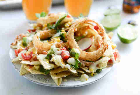 BBQ chicken nachos with buttermilk onion rings