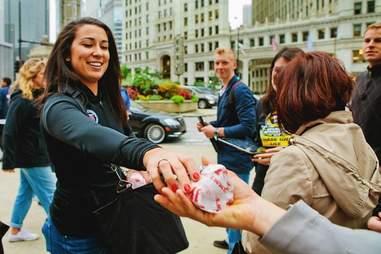 Girl handing out Jimmy John's