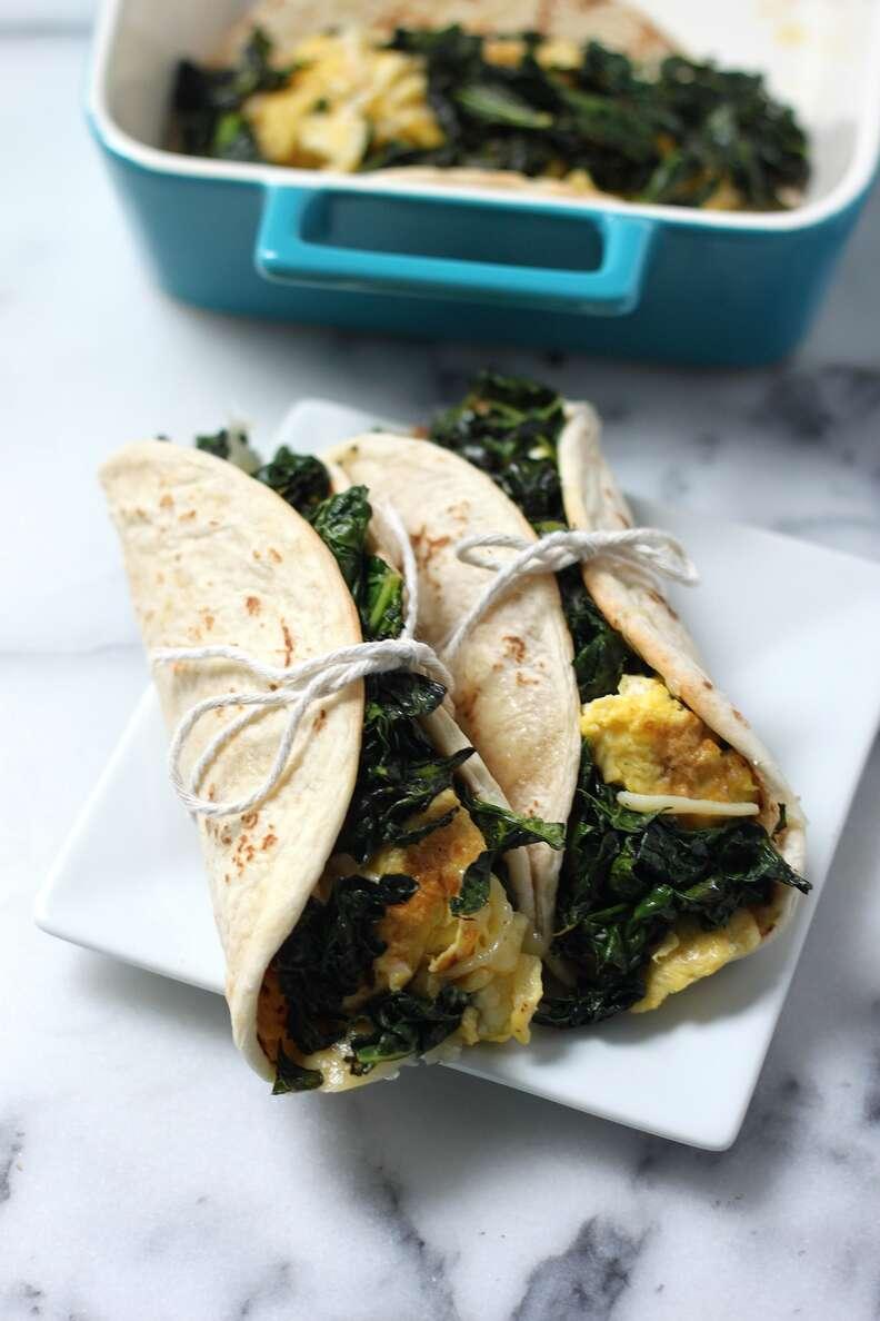 Kale and Gouda scrambled egg tacos