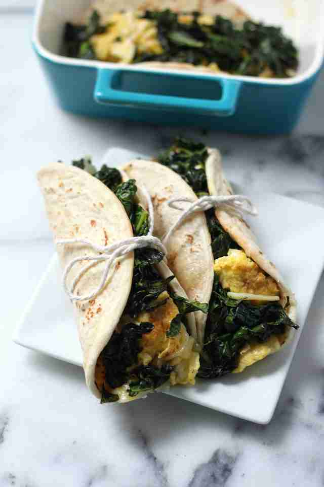 Kale and Gouda scrambled egg tacos