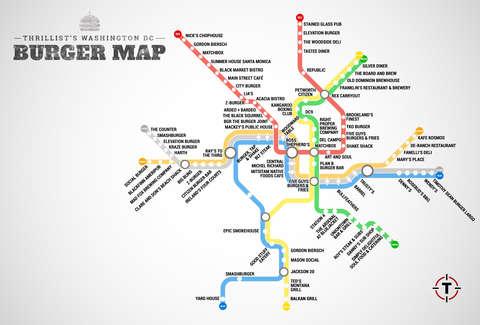 Washinton Dc Metro Map.The Washington Dc Metro Burger Map Burgers At Every Metro Stop