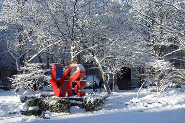 Phildephia Love sign in snow