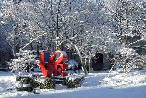 Phildephia Love sign in snow