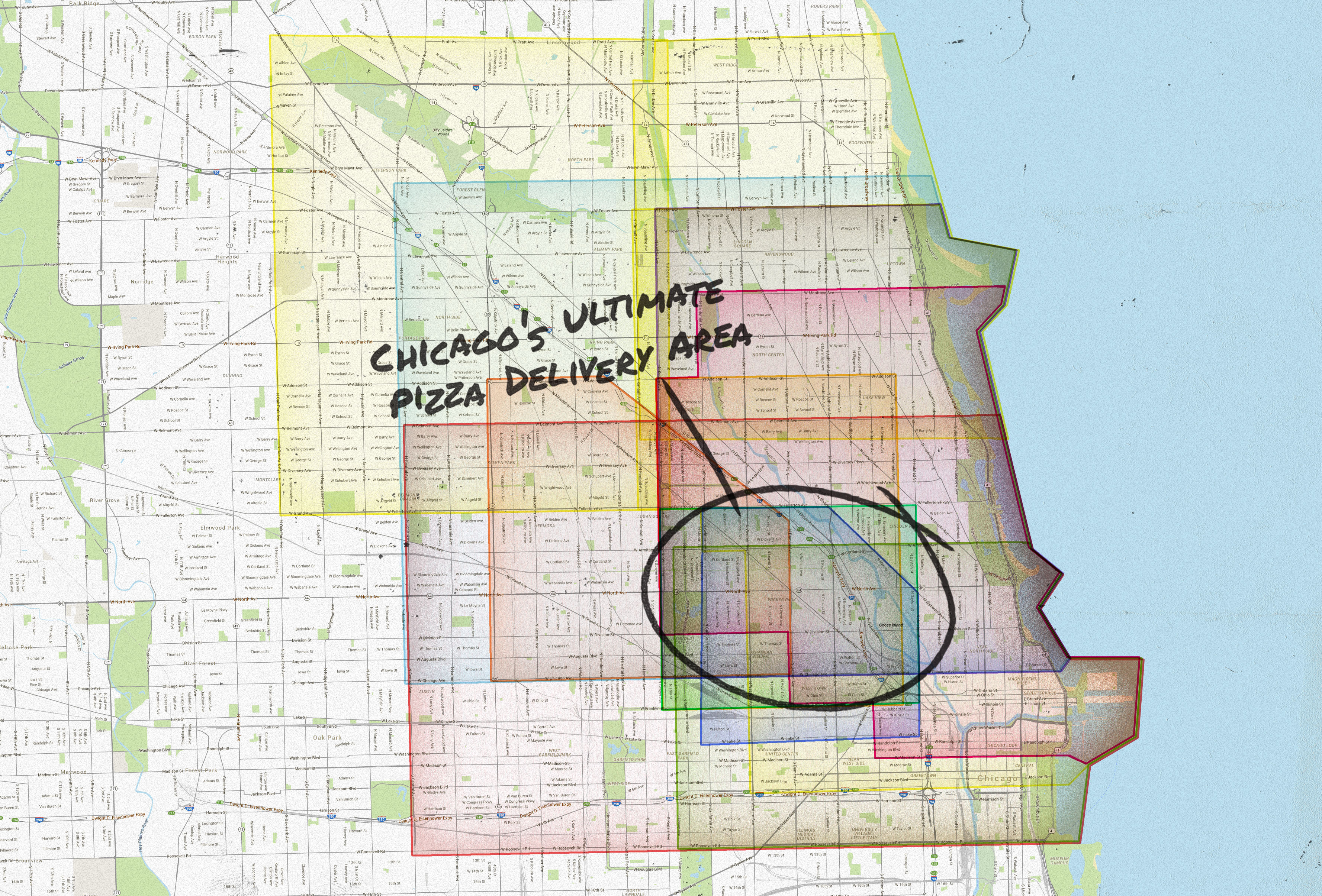 Chicago Pizza Delivery Map Piece Salernos Pequods And More Thrillist